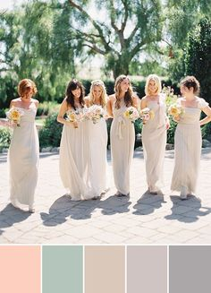 neutral colors long wedding bridesmaid dresses