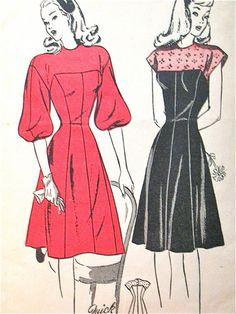 Vintage 1940s Butterick dress sewing pattern 3838 by Fancywork