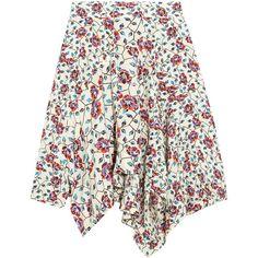 Isabel Marant Rachel asymmetric floral-print silk skirt (€490) ❤ liked on Polyvore featuring skirts, colorful skirts, floral knee length skirt, floral print skirt, handkerchief hem skirt and isabel marant skirt