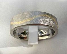 Wavy Gold Inlay Titanium Wedding Ring | LOVE2HAVE UK! Titanium Wedding Rings, Gold Wedding Rings, Wire Brushes, Wave Pattern, Precious Metals, Jewelry Rings, Rings For Men, Jewelry Making, White Gold