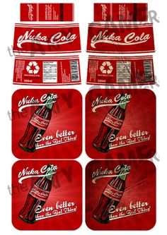 "DOWNLOAD: Fallout 3 / New Vegas ""Nuka Cola"" bottle label, coaster/beer mat and matchbook (self-print)"