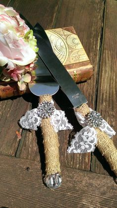 rustic wedding cake knife burlap and lace by RedHeartCreations, $42.00