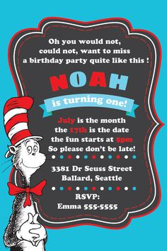 Dr seuss 1st birthday party - Cat in the hat first birthday - Dr seuss printables - Cat in the hat digital invitation - Dr seuss card DIY