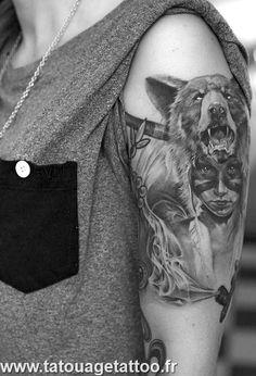 Bear, Indian - Arm Tattoo