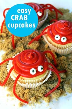 crab cupcakes are an easy cute Summer dessert idea, great for beach parties