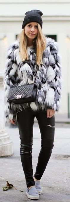 Grey And White Faux Fur Jacket