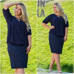 Plus Size L - 6XL 2016 New Fashion CASUAL Losse SOLID 1/2 SLEEVE Natural Waistline o-neck KNEE LENGTH Women summer Dress