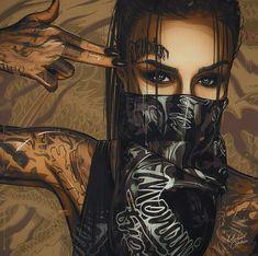 Welding the Punk into Cyberpunk : Photo Arte Dope, Dope Art, Body Art Tattoos, Girl Tattoos, Dope Kunst, Gangsta Girl, Digital Art Girl, Character Art, Fantasy Art