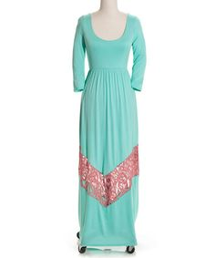 Look what I found on #zulily! Mint & Pink Lace Panel Scoop Neck Maxi Dress by Coveted Clothing #zulilyfinds
