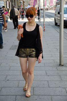 gold sprayed denim shorts