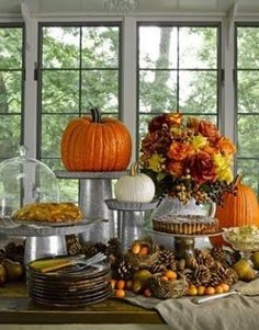 Fall/Thanksgiving Table Decoration, I really like the display idea for this.....just love the gavanized buckets and tart pans.