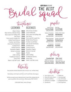 Editable WORD Template - Keep calm. We have the best bridal squad (Pink Version) - Wedding Day Sched
