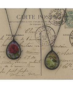 LAVISHY vintage style rose and hummingbird necklace