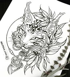 Lynx tattoo design.