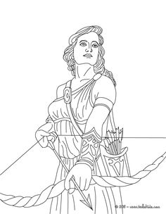 coloring pages of goddesses for free | ARTEMIS the Greek goddess of hunting coloring page