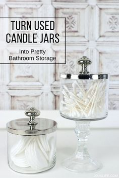 Got some used candles? Here's how to upcycle used candle jars and turn them into pretty and useful bathroom storage! via @superjoy