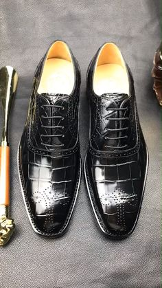 Handcrafted alligator business dress shoes for men. These alligator dress shoes are for every man looking to add a traditional and trendy flair to their outfits Dress Shoes With Jeans, Men's Dress Shoes, Dress Clothes, Dress Outfits, Mens Fashion Shoes, Shoes Men, Jeans Fashion, Dress Fashion, Casual Boots