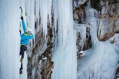 Ice climbing in the Arc'teryx Nuclei FL Jacket & Alpha SV Bib Pant