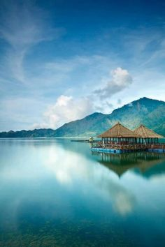The Kedisan floating restaurant on Lake Kintamani, Bali, Indonesia.