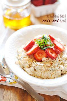 Strawberry Basil Oatmeal Bowl