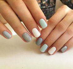 Blue nails with accent glitter. Blue nails with accent glitter.,Nageldesign – Nail Art – Nagellack – Nail Polish – Nailart – Nails Blue nails with accent glitter. Pastel Nails, Pink Nails, Glitter Nails, My Nails, Blue Nails With Glitter, Cute Shellac Nails, Mint Nail Art, Mint Green Nails, Shellac Manicure
