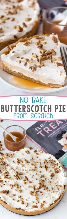 No Bake Butterscotch Pie - this easy pie is completely from scratch. The butterscotch pudding is SO good! The entire pie is the BEST we've ever had.