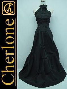 Cherlone Satin Black Halter Prom Ball Gown Formal Wedding/Evening Dress 12-14