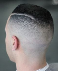 shaved nape, high fade, slicked, razored part