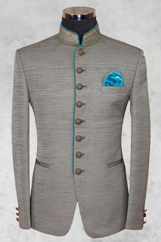 Grey admirable raw silk suit with bandhgala collar-ST491 - Jodhpuri Suits - Men's Suits - Men's Wear