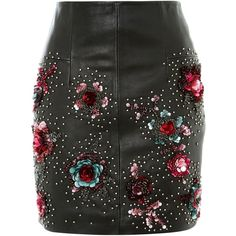 Topshop Stud Floral Leather Mini Skirt (800 RON) ❤ liked on Polyvore featuring skirts, mini skirts, bottoms, topshop, black, embellished skirts, floral miniskirts, floral mini skirt, short leather skirt and short skirts