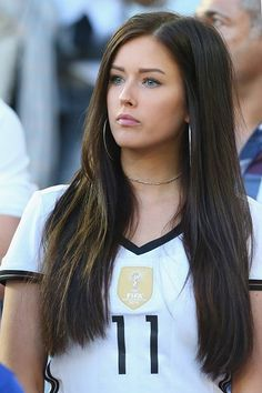 Lena Stiffel girlfriend of Julian Draxler of Germany looks on during the UEFA EURO 2016 quarter final match between Germany and Italy at Stade Matmut. Hot Football Fans, Football Girls, Girls Soccer, Soccer Fans, Sporty Girls, Pretty Eyes, Beautiful Eyes, Beauty Full Girl, Beauty Women