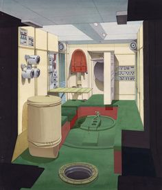 Design for the cabin of the Mir space station, final variant of the interior fittings (1980). Source: Galina Balashova Archives