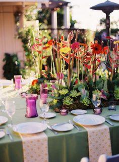 La Tavola Fine Linen Rental: Tuscany Emerald Linens & Retro Yellow Napkins