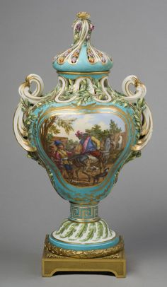Vase with Lid  Model probably by Jean-Claude Duplessis, Sr., French, c. 1695 - 1774. Made by the Sèvres porcelain factory, Sèvres, France, 1756 - present.  Geography: Made in Sèvres, France, Europe Date: c. 1761 Medium: Soft-paste porcelain with enamel and gilt decoration