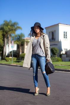 Zadig & Voltaire Trench Coat, Anine Bing bohemian hat, Genetic Denim distressed skinny jeans, Kain classic tee, Bionda Castana lace pumps // song of style Song Of Style, My Style, Trench Coat Style, Distressed Skinny Jeans, Daily Fashion, Fashion Fashion, Timeless Fashion, Street Style Women, Style Guides