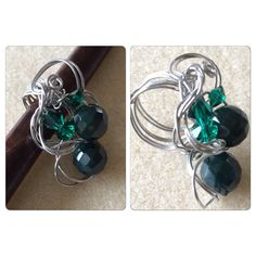 Green bead+crystal art wire ring. RHY collection, 12 Aug 2014.