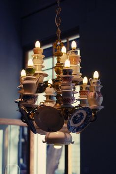 Teacup chandelier! teacups, saucers, creamers, teapots, sugars, plates.. beautiful reuse upcycle