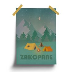 Vintage Poster  Zakopane Summer Night Tent by HunnyBadgerStudio
