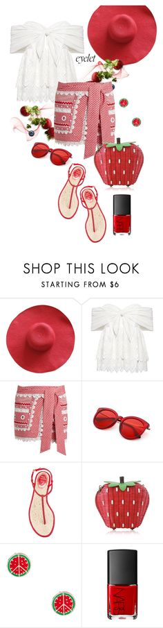 """""""Berry Nice"""" by interesting-times ❤ liked on Polyvore featuring Sea, New York, Dodo Bar Or, René Caovilla, NARS Cosmetics and eyelet"""