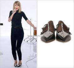 """Shake It Off"" music video Tabitha Simmons 'Heart Calf-Hair and Leather Flats' - $1099.00"