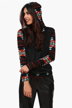 I like the hoodie/sweater, but I would get it slightly larger for a slouchy & comfy look (or to pair with leggings). Also, lose those pants lol.