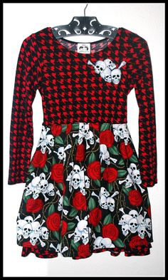 Girls Rockabilly Dress in Red & black Houndstooth Skulls, Bones and Roses ........Size 10 by DollfaceBettys on Etsy