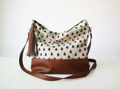 Raindrops Boho bag, Crossbody bag, Canvas and Vegan Leather, Slouchy Messanger bag, Shoulder bag, Tassels, Clutch purse