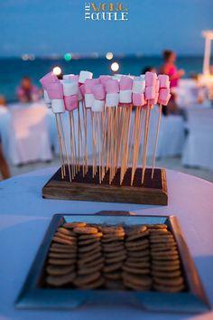 Smores at beach wedding bonfire party