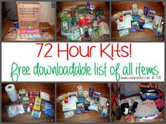 Emergency 72 Hour Family Packs, with a free download of the entire list of items! #preparedness