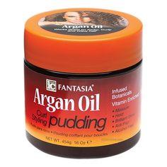 IC Fantasia Argan Oil Curl Styling Pudding. Pudding Coiffant pour Boucles à l'Huile d'Argan. Le pudding coiffant IC Fantasia est le gel-crème de coiffage ultime pour cheveux crépus, frisés, bouclés et ondulés. Il nourrit les boucles en leur apportant de l'hydratation et une tenue souple. Grâce à la puissance de l'Huile d'Argan naturelle, il aide à faire pousser les cheveux. Ils sont plus forts et plus longs.