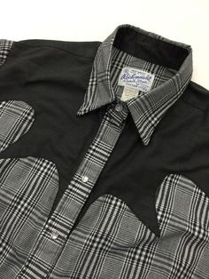 ROCKMOUNT Vintage Pearl Snap Western Shirt Men's Large Black White Checker #Rockmount #Western
