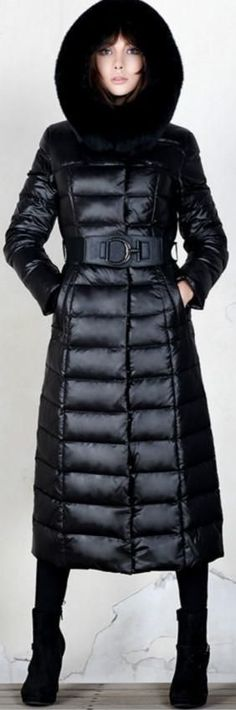 Long Down Fill Coat with Removable Fox Fur Collar - Black or Grey