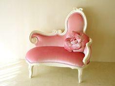 fancy french pink velvet settee