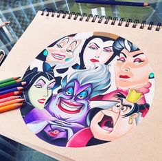 This is so fucking cool Cute Disney Drawings, Disney Sketches, Cartoon Drawings, Cool Drawings, Drawing Disney, Evil Disney, Disney Marvel, Disney Fun, Disney Sleeve
